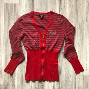 Guess Red Gray Stripe Full ZIP Cardigan